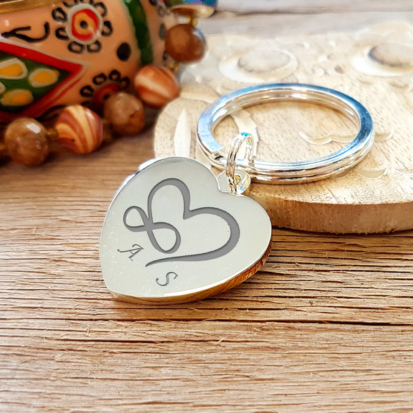 Infinity Heart Engraved Heart Shaped Keyring