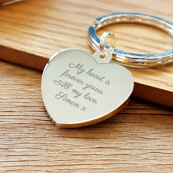 Infinity Heart Initials engraved heart shaped keyring - reverse with special engraved message