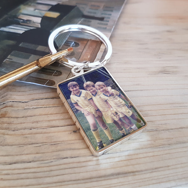 Upload Photograph Keyring with Engraved Message on reverse - photo of children for mum