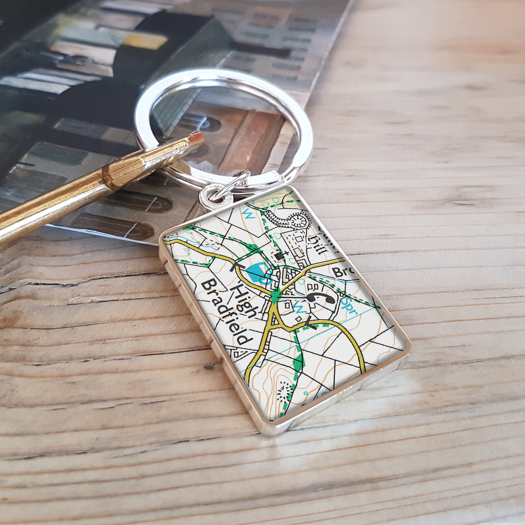 Map Keyring Personalised and engraved anniversary Gift or stocking filler - full colour