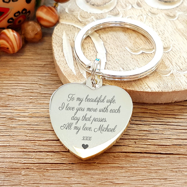 Most Beautiful Girl in the World Engraved Keyring - showing special engraved message on reverse - gift for wife or girlfriend