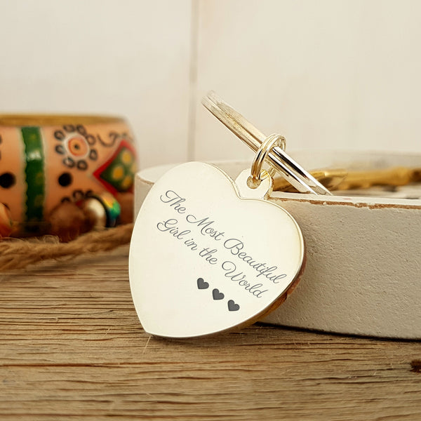 Most Beautiful Girl in the World Engraved Keyring gift for wife or girlfriend