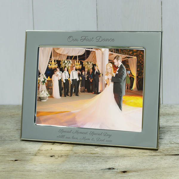 Our First Dance engraved silver photoframe. Ideal personalised wedding gift - landscape