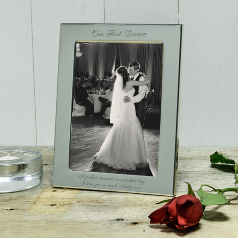 Our First Dance engraved silver photoframe. Ideal personalised wedding gift - portrait