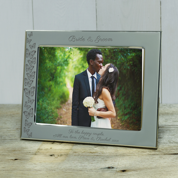 "Bride & Groom ""Butterflies"" Engraved Silver Photo Frame"