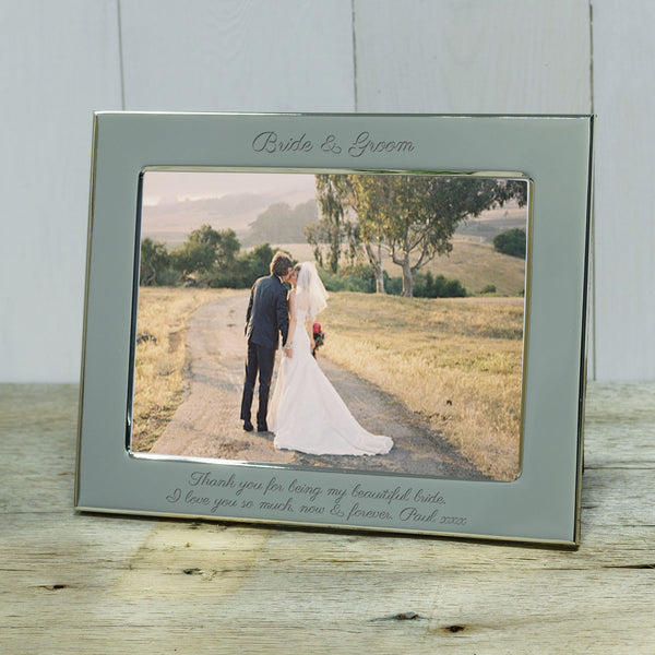 Wedding gift - Bride & Groom engraved silver photoframe - landscape