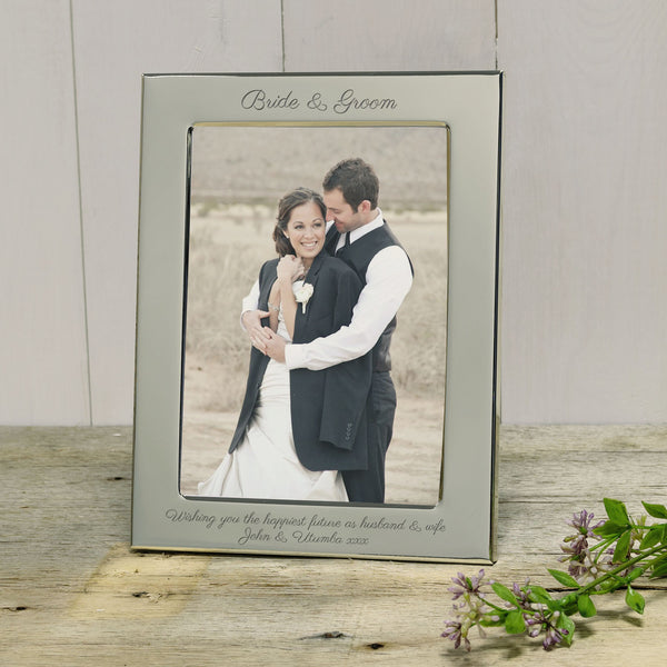 Wedding gift - Bride & Groom engraved silver photoframe - portrait