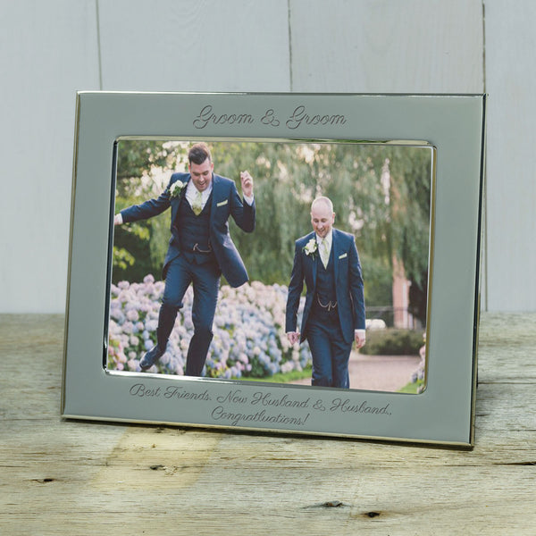 Gift for gay wedding - Groom & Groom engraved photograph frame - landscape