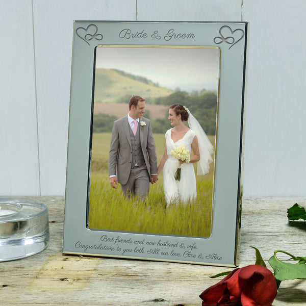 Infinity Hearts Bride & Groom Engraved Wedding Photo frame. Personalised wedding gifts - portrait