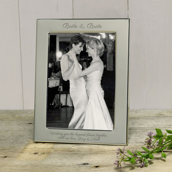 Gift for gay wedding - Bride & Bride engraved photograph frame - portrait