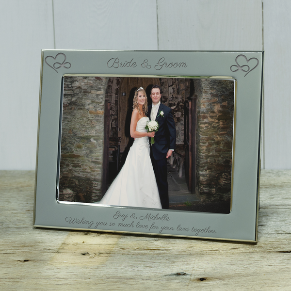 Infinity Hearts Bride & Groom Engraved Wedding Photo frame. Personalised wedding gifts - landscape