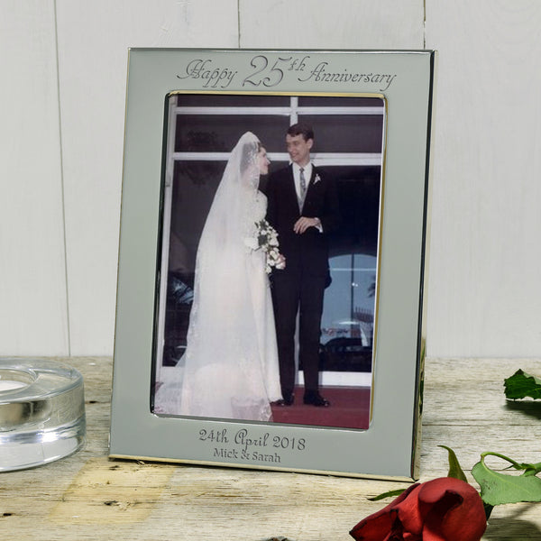 Happy 25th Anniversary gift - Engraved silver photo frame
