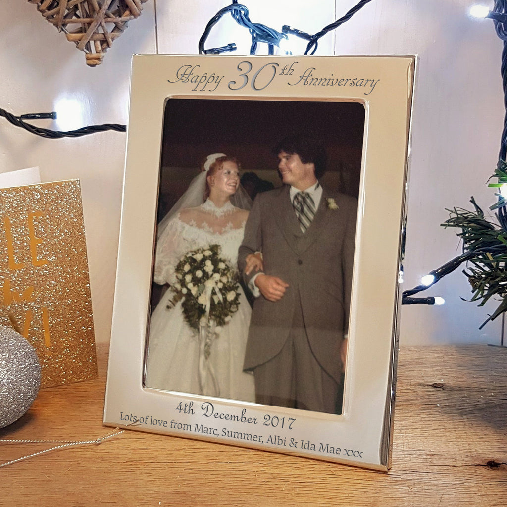 Happy 30th Anniversary gift - Engraved silver photo frame