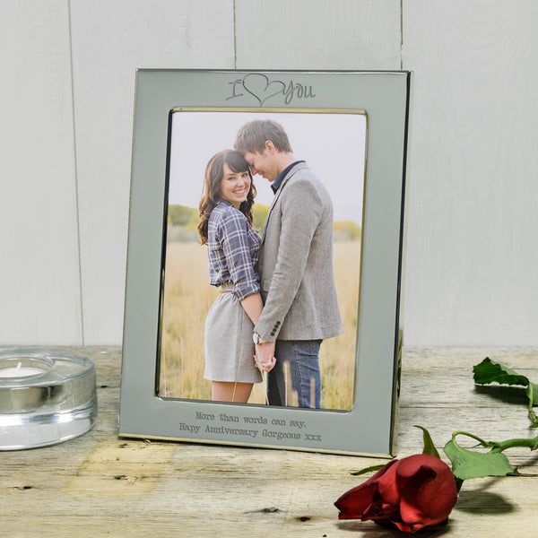 I Love You Engraved Silver Frame. Ideal Valentine's Day Gift - Landscape