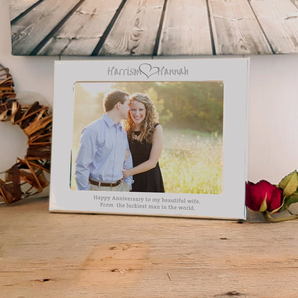 Name loves name Engraved Silver photo Frame - Landscape - valentine's or wedding gift. Ideal gift for same sex couples