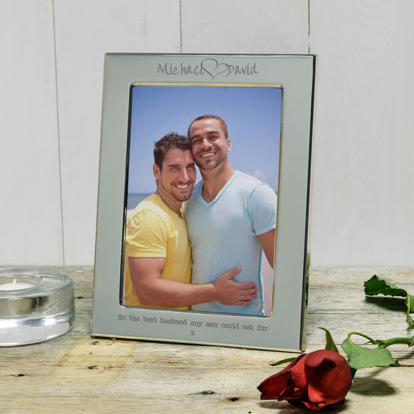 Name loves name Engraved Silver photo Frame - valentine's or wedding gift. Ideal gift for same sex couples