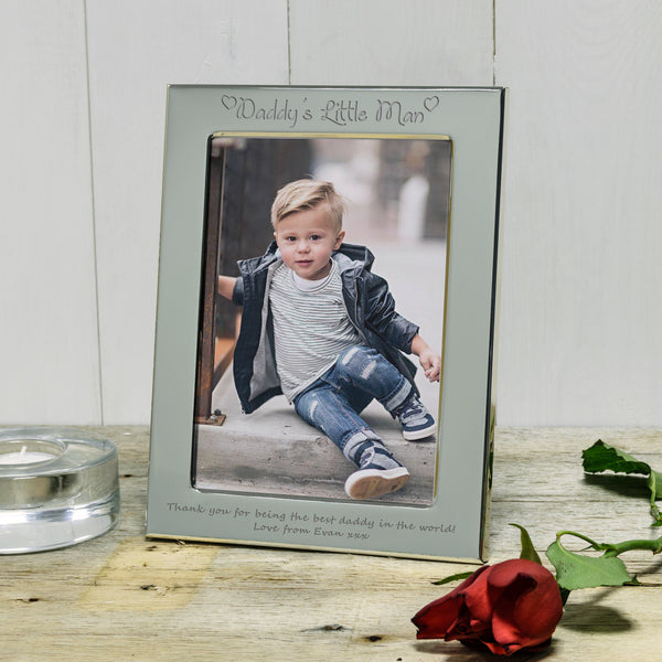Daddy's Little Man engraved silver photo frame father's day gift