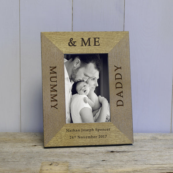 Mummy, Daddy & Me Engraved Wood Photo Frame
