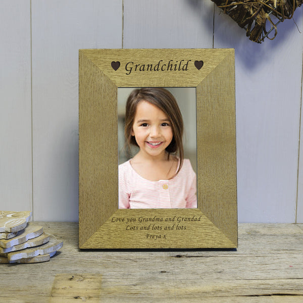 Hearts & Name Engraved Wood Photo Frame
