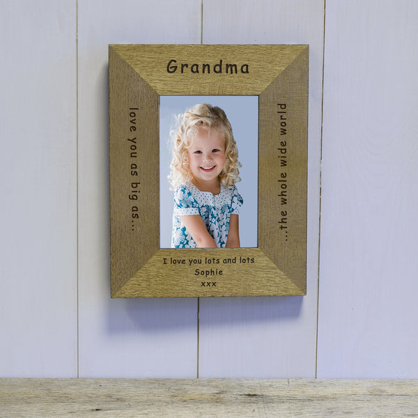 Mother's Day or Birthday Gift for Grandma - Love you as big as the whole wide world engraved photo frame