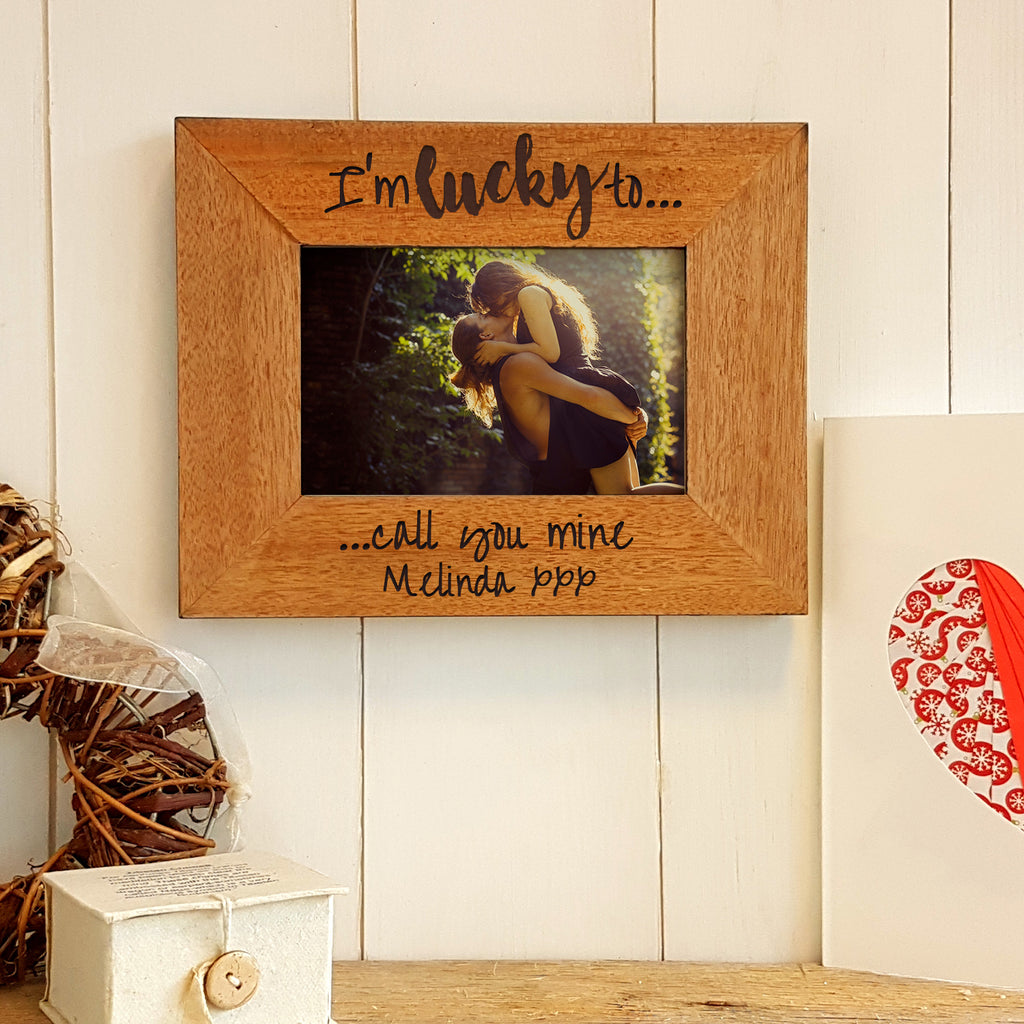 Lucky to Call You Mine Engraved Wood Photo Frame