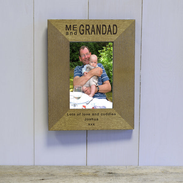 Me & Daddy / Grandad Engraved Wood Photo Frame