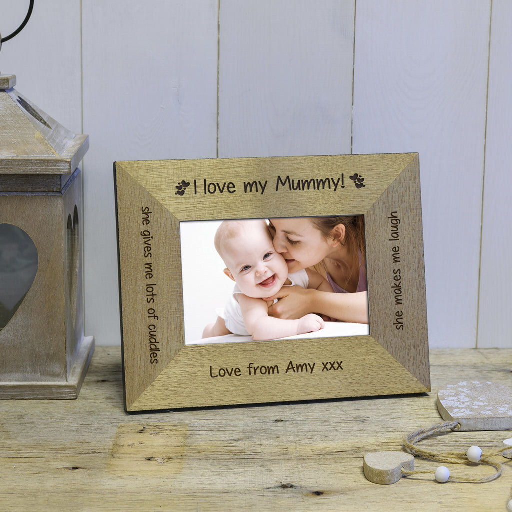 I / We Love Mummy / Grandma Engraved Wood Photo Frame