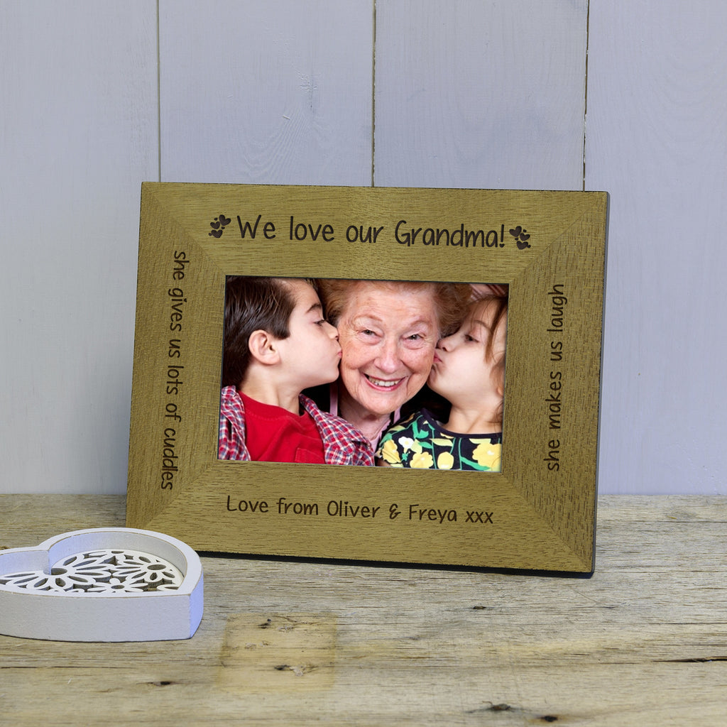I We Love Mummy Grandma Engraved Wood Photo Frame Withlovefrom