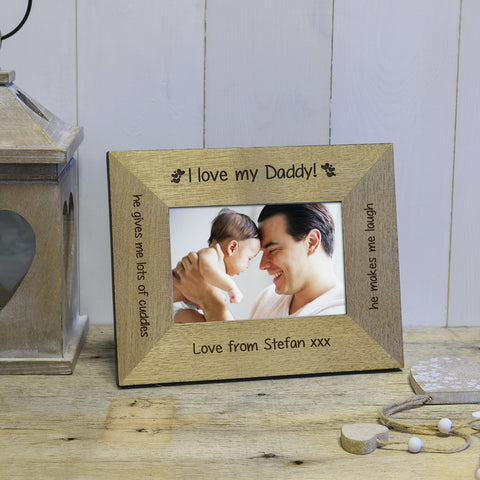 I / We Love Daddy / Grandad Engraved Wood Photo Frame