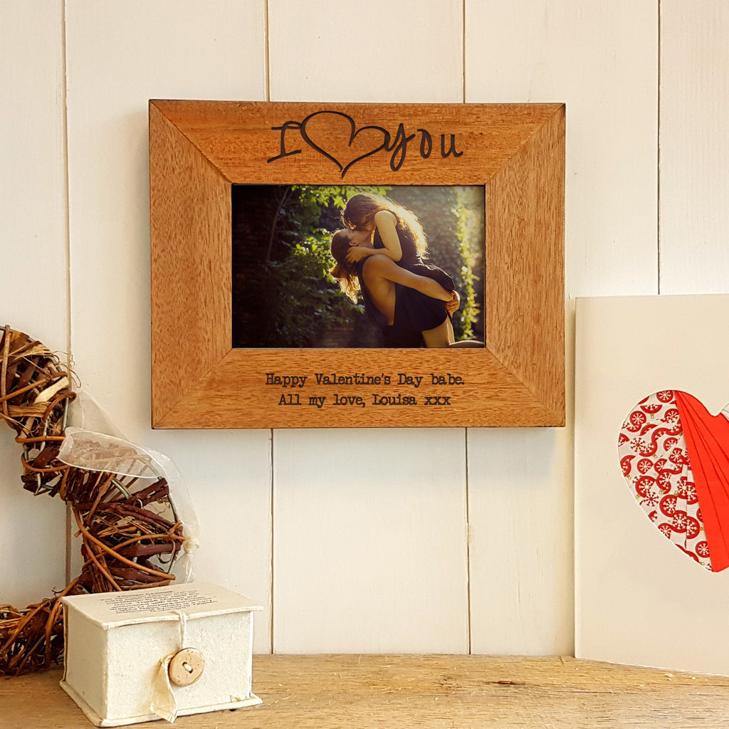 I Love You Engraved Wood Photo Frame Valentines Gifts For Him Or