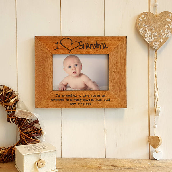 I love Grandma engraved wooden photo frame Mother's Day gift
