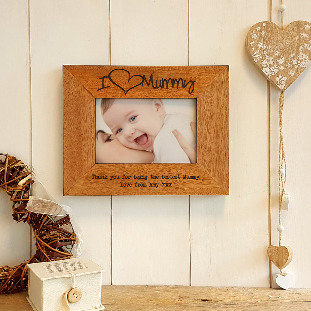 I Love Mummy Engraved Wooden Photo frame - landscape