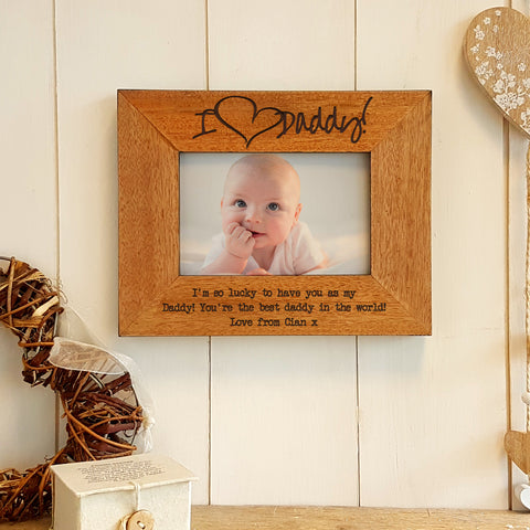I love daddy engraved wood photo frame - landscape