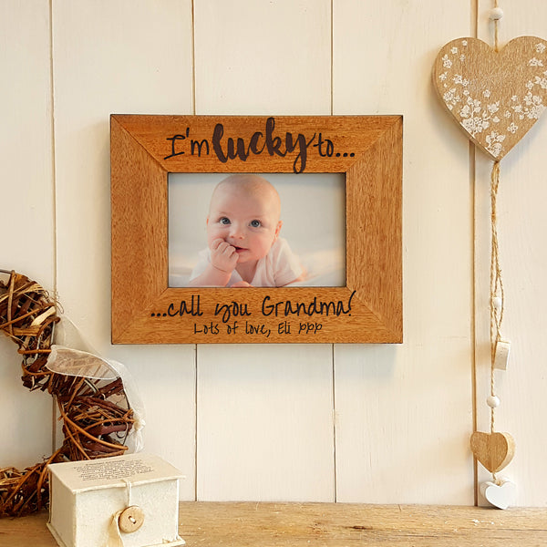 Lucky to call you Grandma personalised engraved wooden photo frame