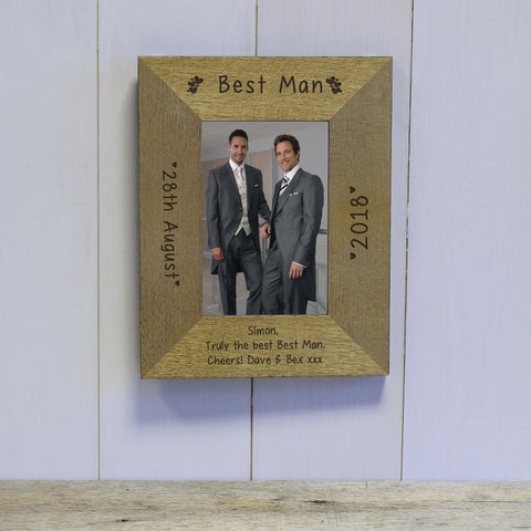 "Wedding Party ""Hearts"" Engraved Wooden Frame"