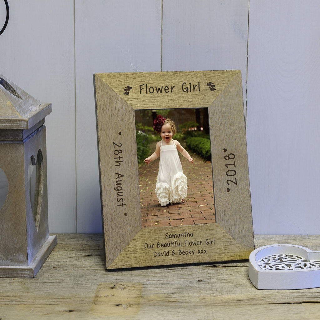 Gift for Flower Girl - Engraved Wooden Hearts Flower Girl Photo frame