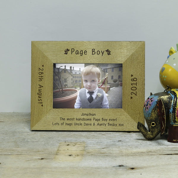 Gift for Flower Girl - Engraved Wooden Hearts Page Boy Photo frame