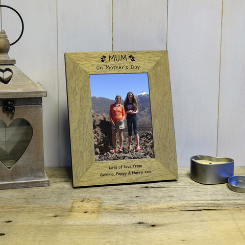 Mum On Mother's Day engraved wooden photo frame - portrait