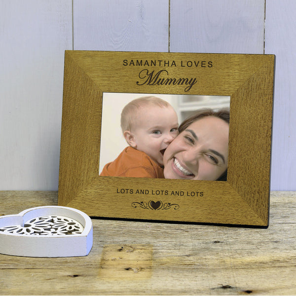 Loves Mummy Engraved Wood Photo Frame