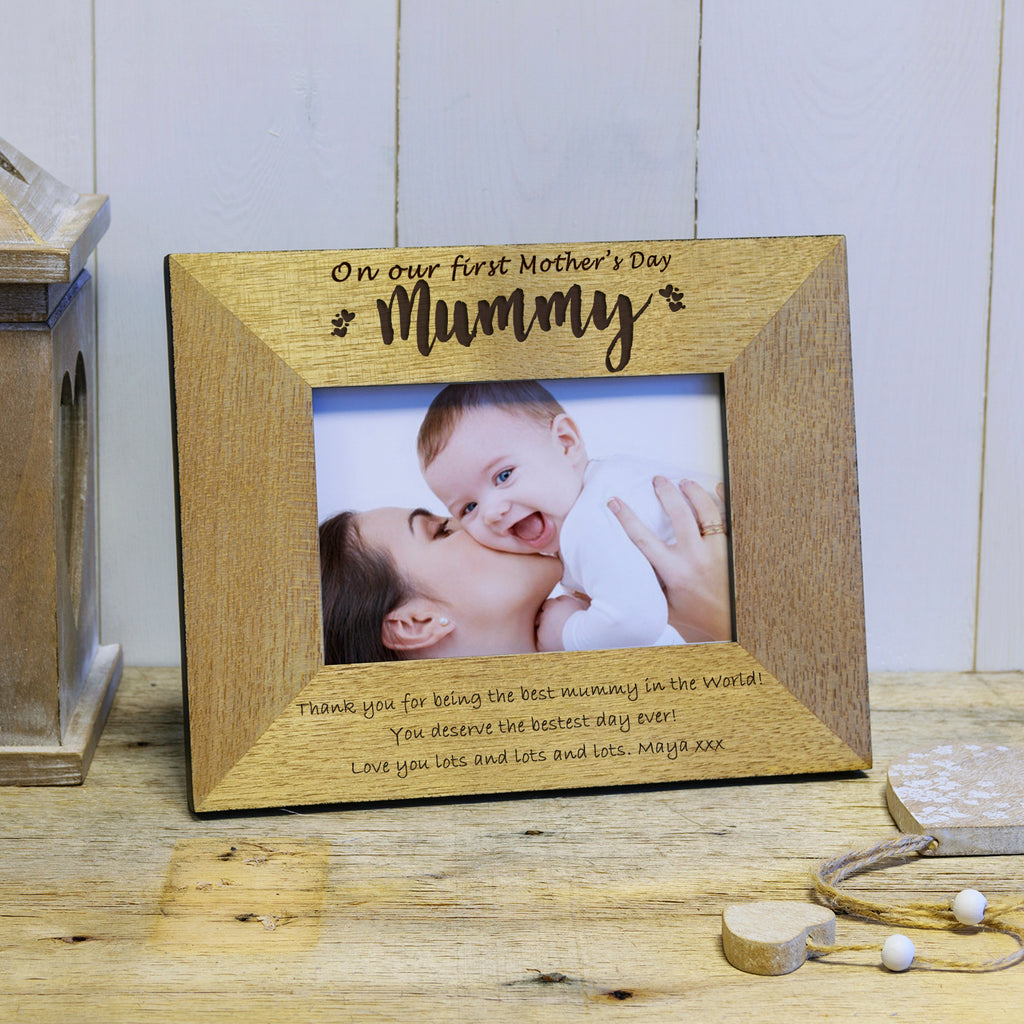 On our first Mother's Day engraved wooden photoframe Mother's Day gift - landscape