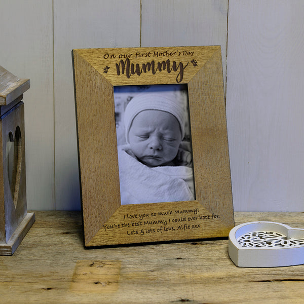 On our first Mother's Day engraved wooden photoframe Mother's Day gift - portrait