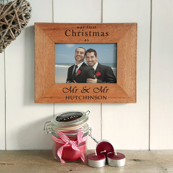 Our First Christmas as Mr & Mr Engraved Photoframe - Same Sex Christmas Gift for Newlyweds - Landscape