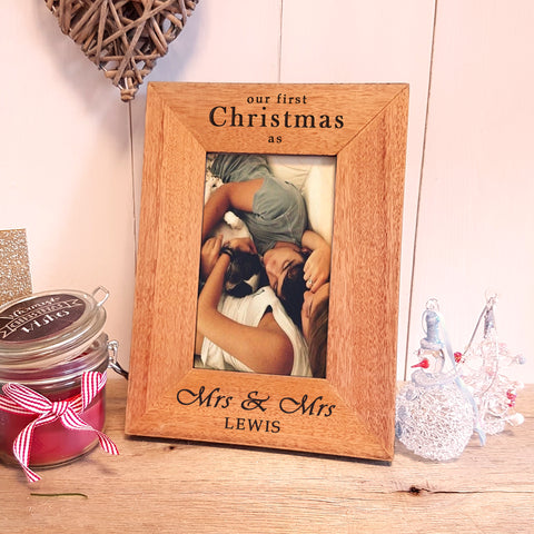 Our First Christmas as Mrs & Mrs Engraved Photoframe - Same Sex Christmas Gift for Newlyweds - Portrait