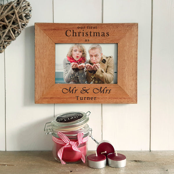 Our First Christmas as Mr & Mrs Engraved Photoframe - Christmas Gift for Newlyweds - Landscape