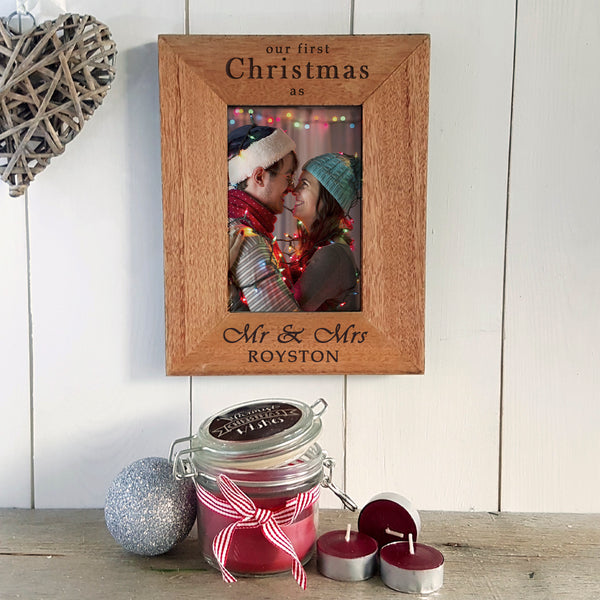 Our First Christmas as Mr & Mrs Engraved Photoframe - Christmas Gift for Newlyweds - Portrait