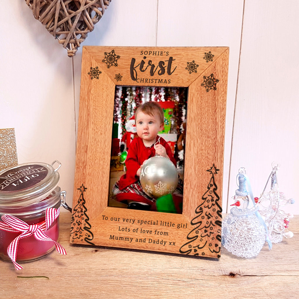 Baby's First Christmas Engraved Wood Photo Frame