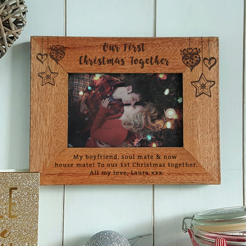 Our First Christmas together engraved wood photo frame - christmas gift for boyfriend