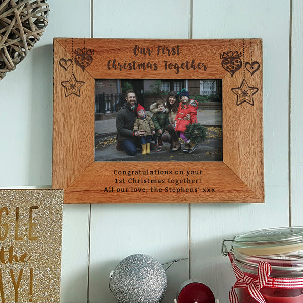 Our First Christmas together engraved wood photo frame - personalised family christmas gift