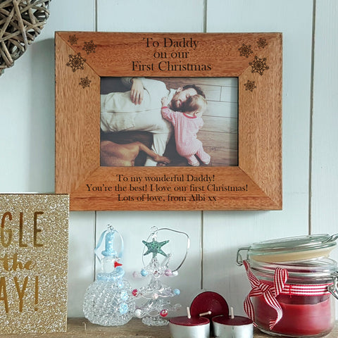 """Daddy on our first Christmas"" engraved photoframe personalised Christmas gift for daddy - landscape"