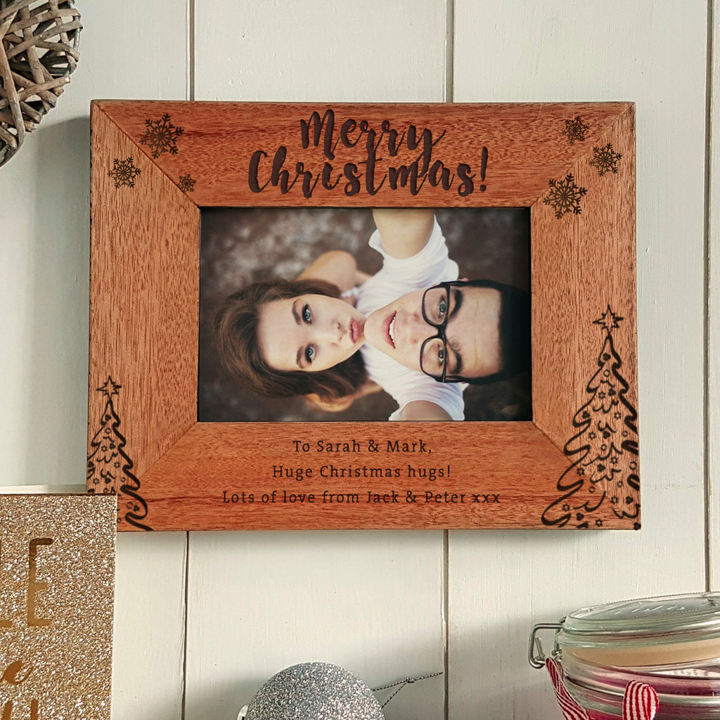Merry Christmas engraved photoframe personalised christmas gift - landscape